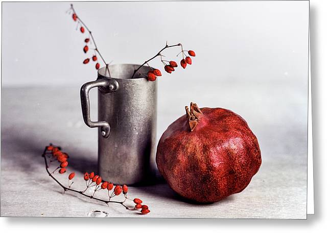 Still Life With Pomegranate Greeting Card by Nailia Schwarz