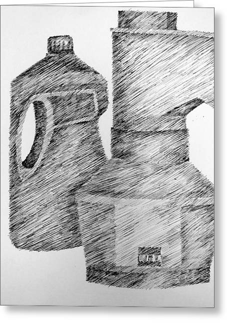 Still Life With Popcorn Maker And Laundry Soap Bottle Greeting Card