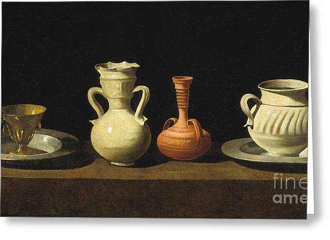 Still Life With Pottery Jars Greeting Card