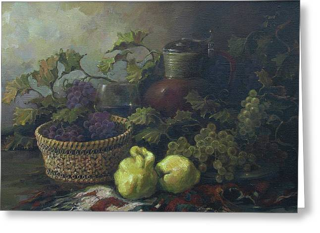 Greeting Card featuring the painting Still-life With Quinces by Tigran Ghulyan