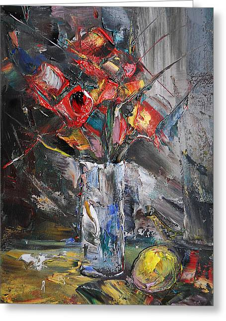 Still Life With Red Flowers And Lemon Greeting Card