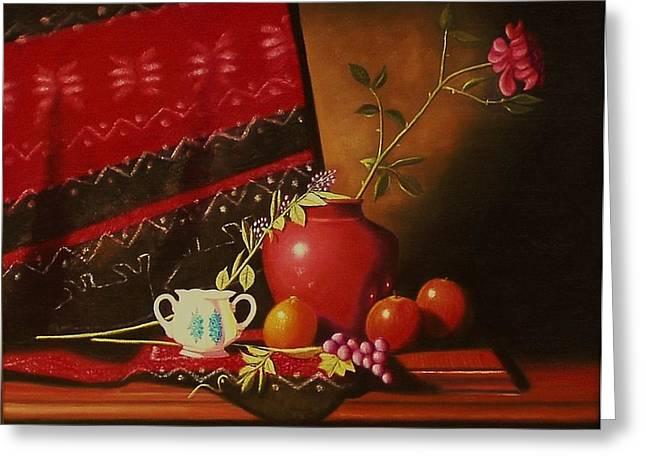 Still Life With Red Vase. Greeting Card by Gene Gregory