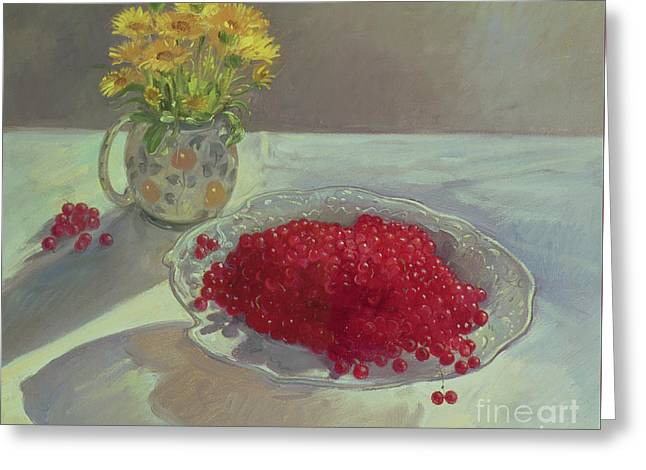 Still Life With Redcurrants And Marigolds Greeting Card
