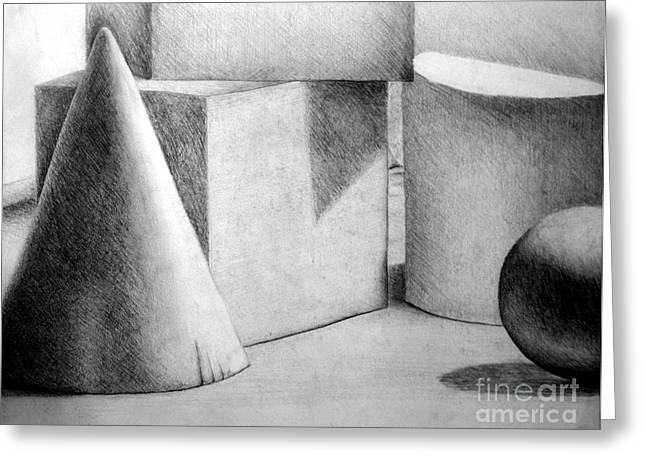 Still Life With Shapes Greeting Card by Nancy Mueller