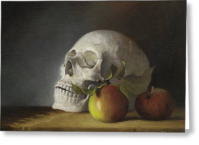 Greeting Card featuring the painting Still Life With Skull by Joe Winkler