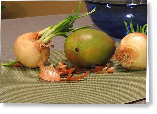 Still Life With Sprouted Onions And Mango Greeting Card by Lynda Lehmann