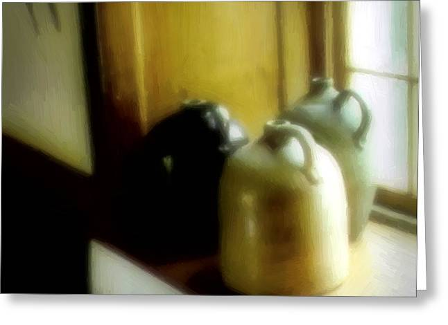Stoneware Digital Art Greeting Cards - Still Life with Stoneware Greeting Card by RC DeWinter
