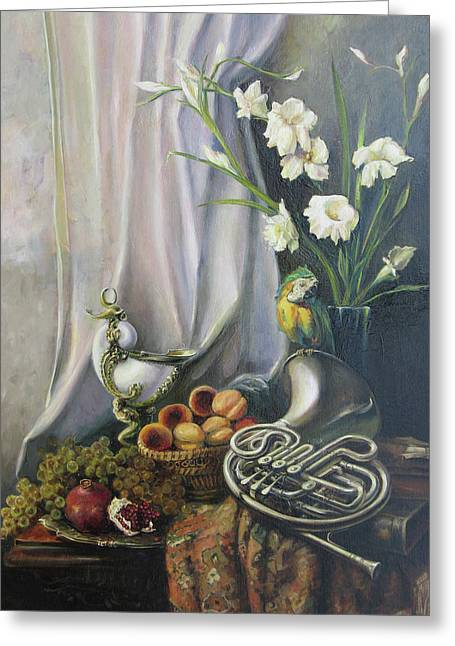 Still-life With The French Horn Greeting Card by Tigran Ghulyan