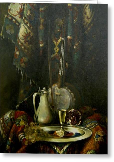 Greeting Card featuring the painting Still-life With The Kamancha by Tigran Ghulyan
