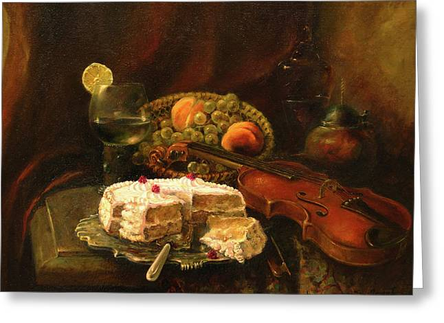 Greeting Card featuring the painting Still-life With The Violin by Tigran Ghulyan