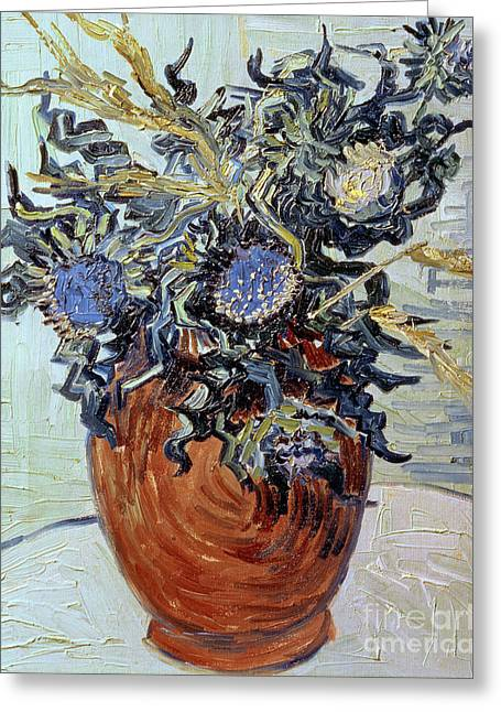 Thistle Greeting Cards - Still Life with Thistles Greeting Card by Vincent van Gogh