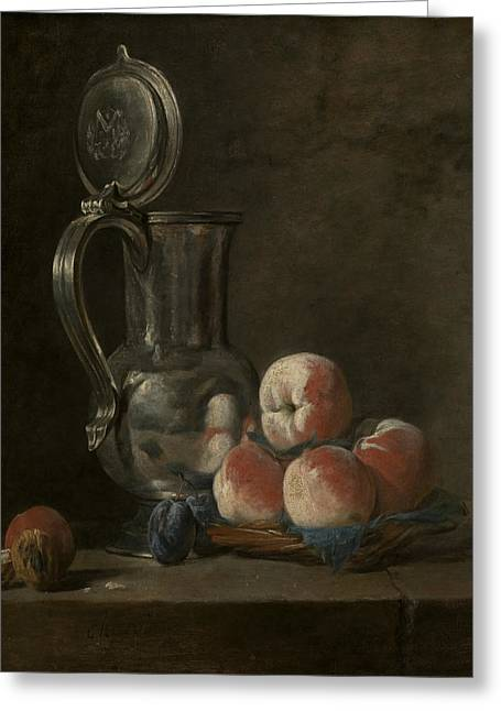 Still Life With Tin Pitcher And Peaches  Greeting Card by Jean-Baptiste-Simeon Chardin