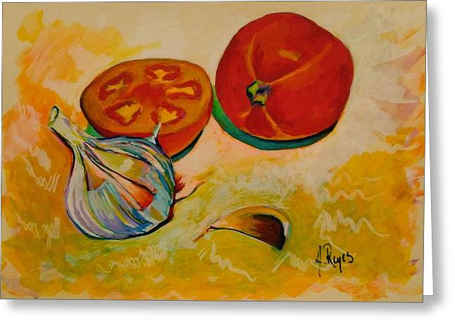 Still Life With Tomatoes And Garlic Greeting Card