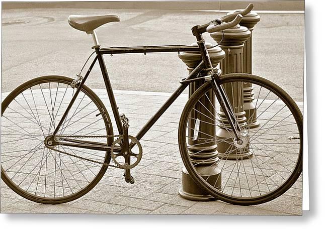 Still Life With Trek Bike In Sepia Greeting Card