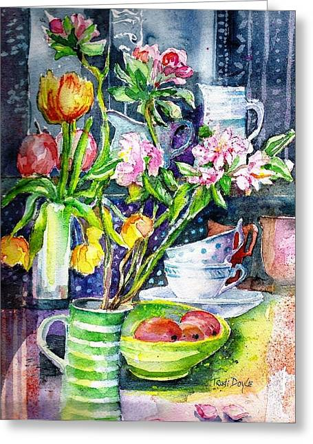 Still Life With Tulips And Apple Blossoms  Greeting Card by Trudi Doyle