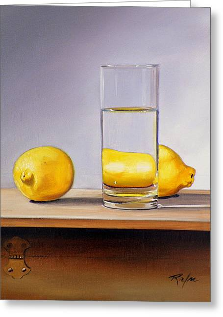 Still Life With Two Lemons And Glass Of Water Greeting Card by RB McGrath