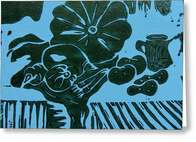 Still-life With Veg And Utensils Green On Blue Greeting Card by Caroline Street