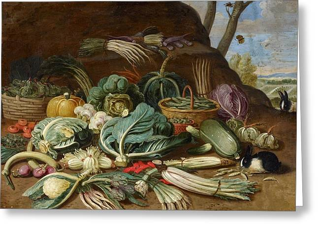 Still Life With Vegetables And A Rabbit Still Life With Fish And Cats In The Kitchen Greeting Card by Jan van Kessel