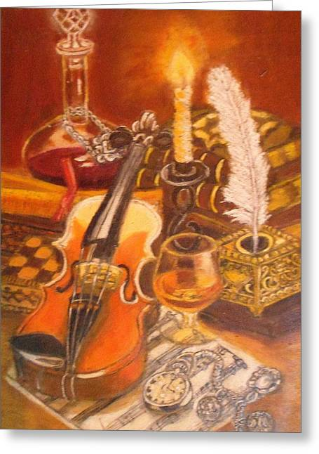 Still Life With Violin And Candle Greeting Card