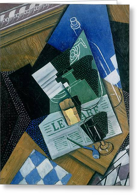 Still Life With Water Bottle, Bottle And Fruit Dish, 1915 Greeting Card by Juan Gris