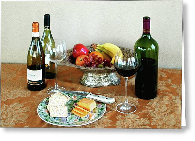 Fruit And Wine Digital Greeting Cards - STILL LIFE WITH WINE AND FRUIT cheese picture interior design decor Greeting Card by John Samsen