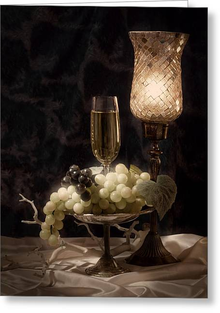 Still Life With Wine And Grapes Greeting Card by Tom Mc Nemar