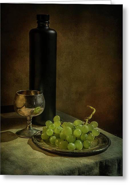 Still Life With Wine And Green Grapes Greeting Card by Jaroslaw Blaminsky