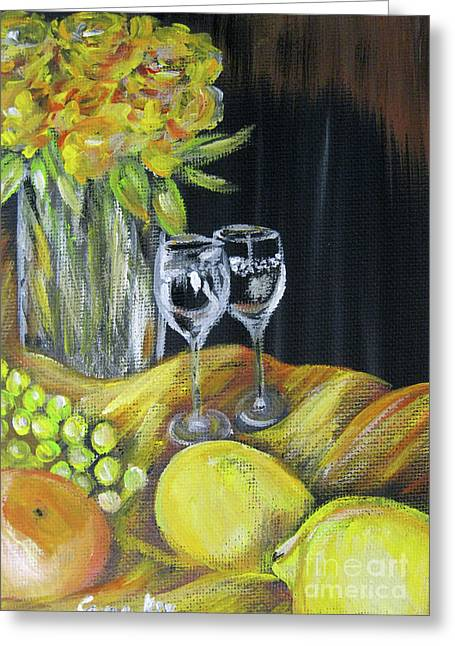 Still Life With Wine Glasses, Roses And Fruit. Painting Greeting Card