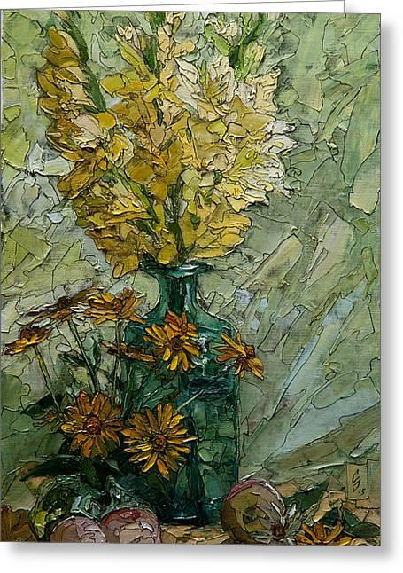 Still Life With Yellow Gladioli Greeting Card by Sergey Sovkov