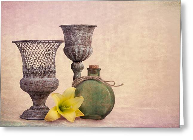 Still Life With Yellow Lily Greeting Card by Tom Mc Nemar