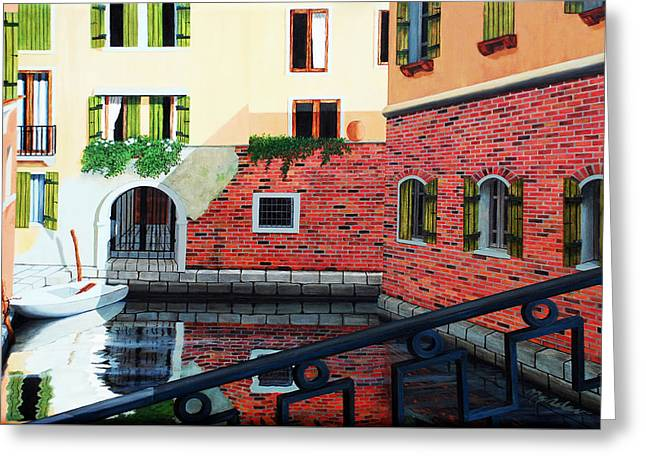 Still, On The Venice Canal, Prints From The Original Oil Painting Greeting Card