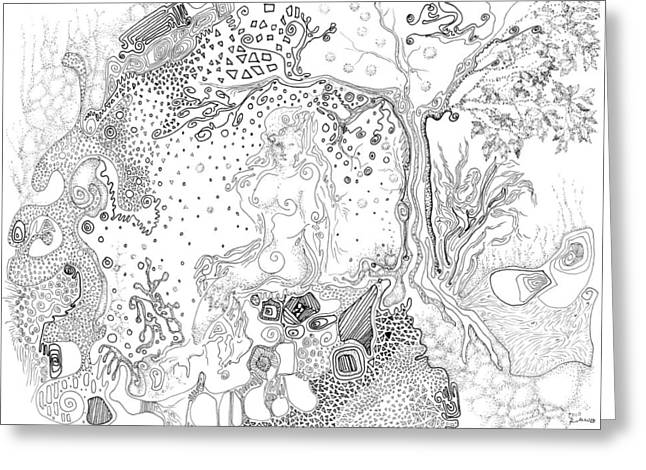 Parable Drawings Greeting Cards - Still Point in a Sea Change Greeting Card by Regina Valluzzi