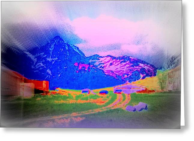 Still Someone Is Living Under The Mountain  Greeting Card by Hilde Widerberg