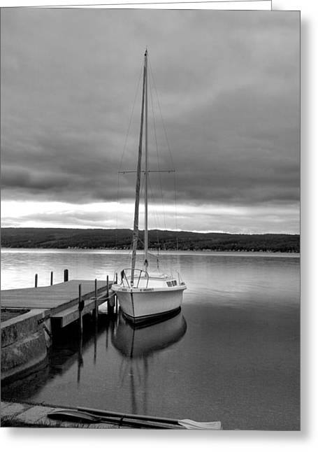 Docked Sailboat Greeting Cards - Still Waters Greeting Card by Steven Ainsworth