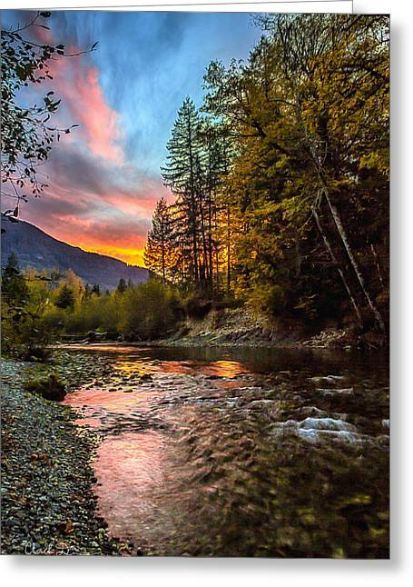 Stillaguamish Sunset Greeting Card