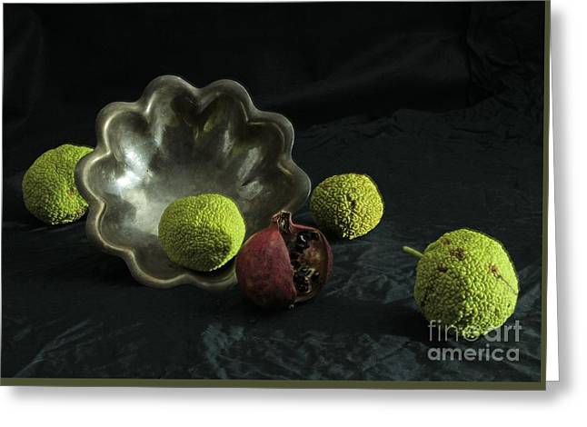 Stilled Life And Silver Bowl Greeting Card