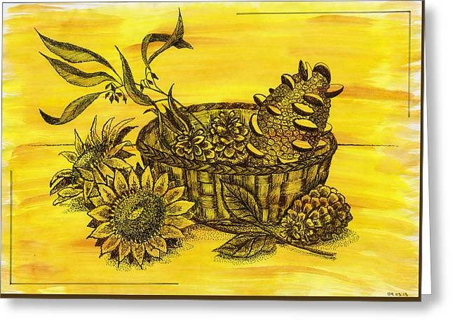 Stillife With Sunflowers, Banksia And Pine Cones In The Wicker B Greeting Card