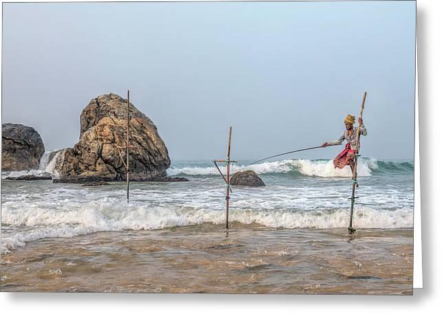 Stilt Fishermen - Sri Lanka Greeting Card