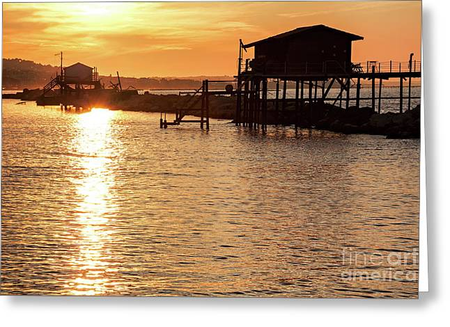 Stilt House Over The Sea At Sunset Greeting Card