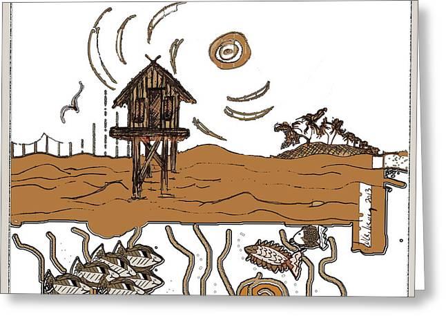Stilt House Greeting Card by W Gilroy