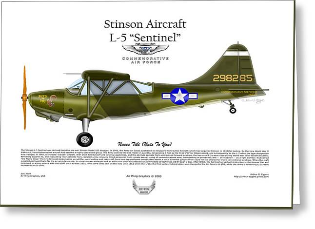Stinson Aircraft L-5 Sentinel Greeting Card by Arthur Eggers