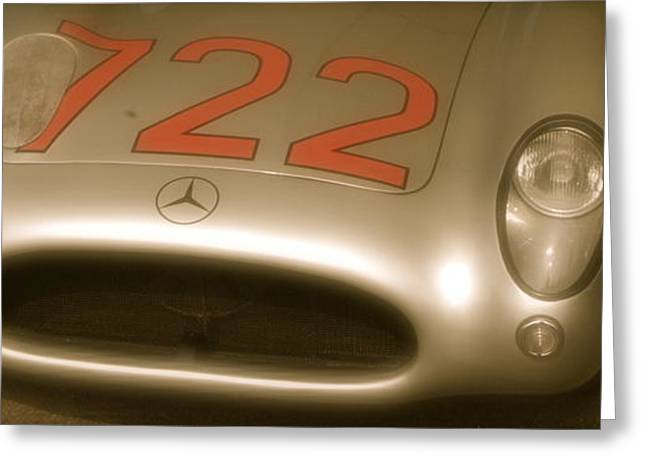 Stirling Moss Greeting Cards - Stirling Moss 1955 Mille Miglia winning 722 Mercedes Greeting Card by John Colley