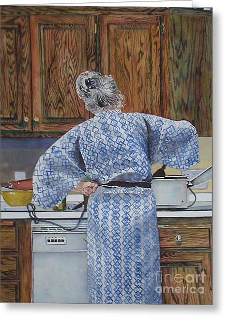 Stirring The Pot Greeting Card by Linda Stout