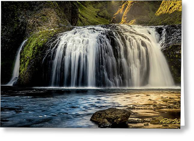 Greeting Card featuring the photograph Stjornarfoss In Afternoon Light by Rikk Flohr