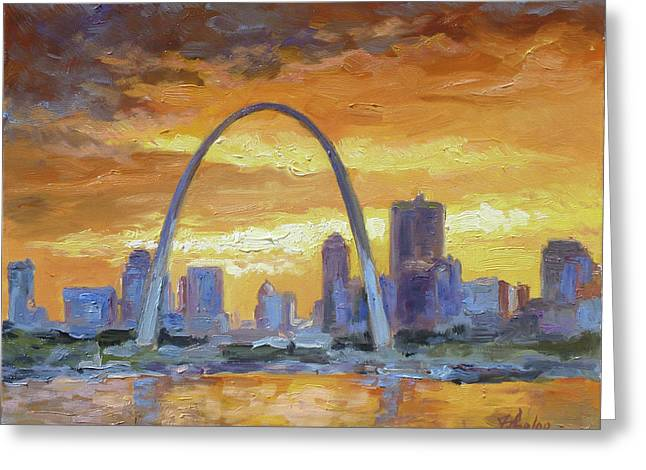 St.louis Arch - Sunset Greeting Card