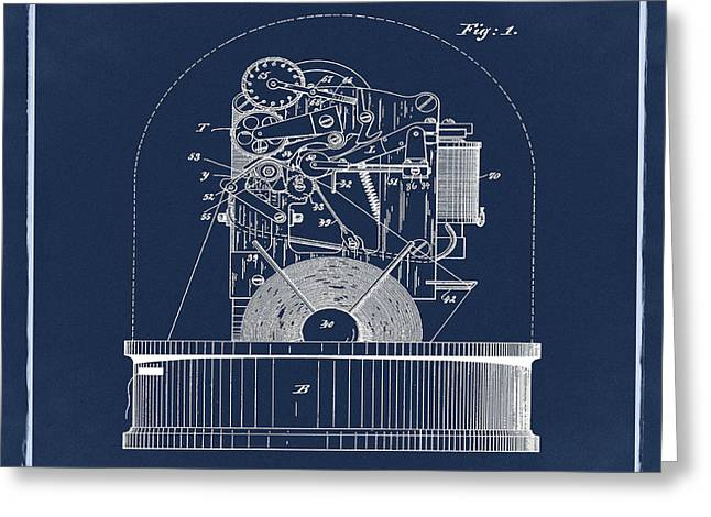 Stock Ticker Patent 1897 Blue Greeting Card