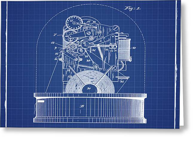 Stock Ticker Patent 1897 Blue Print Greeting Card