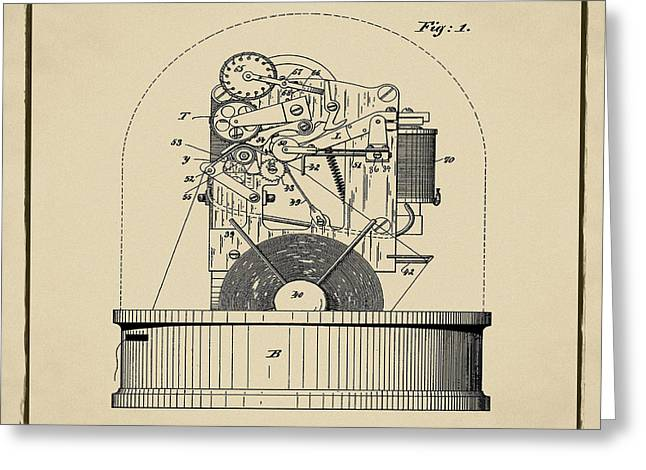 Stock Ticker Patent 1897 Sepia Greeting Card