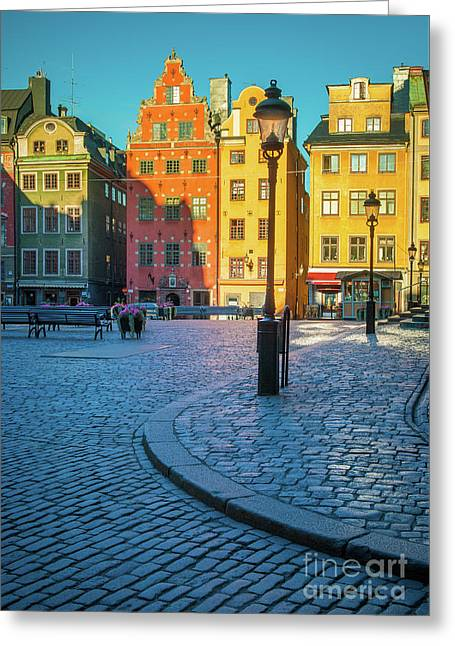 Stockholm Stortorget Square Greeting Card by Inge Johnsson