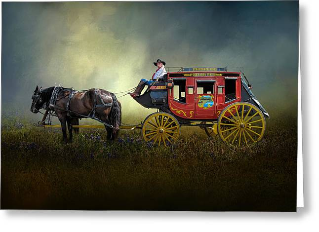 Stockyards Stage Coach Greeting Card by David and Carol Kelly